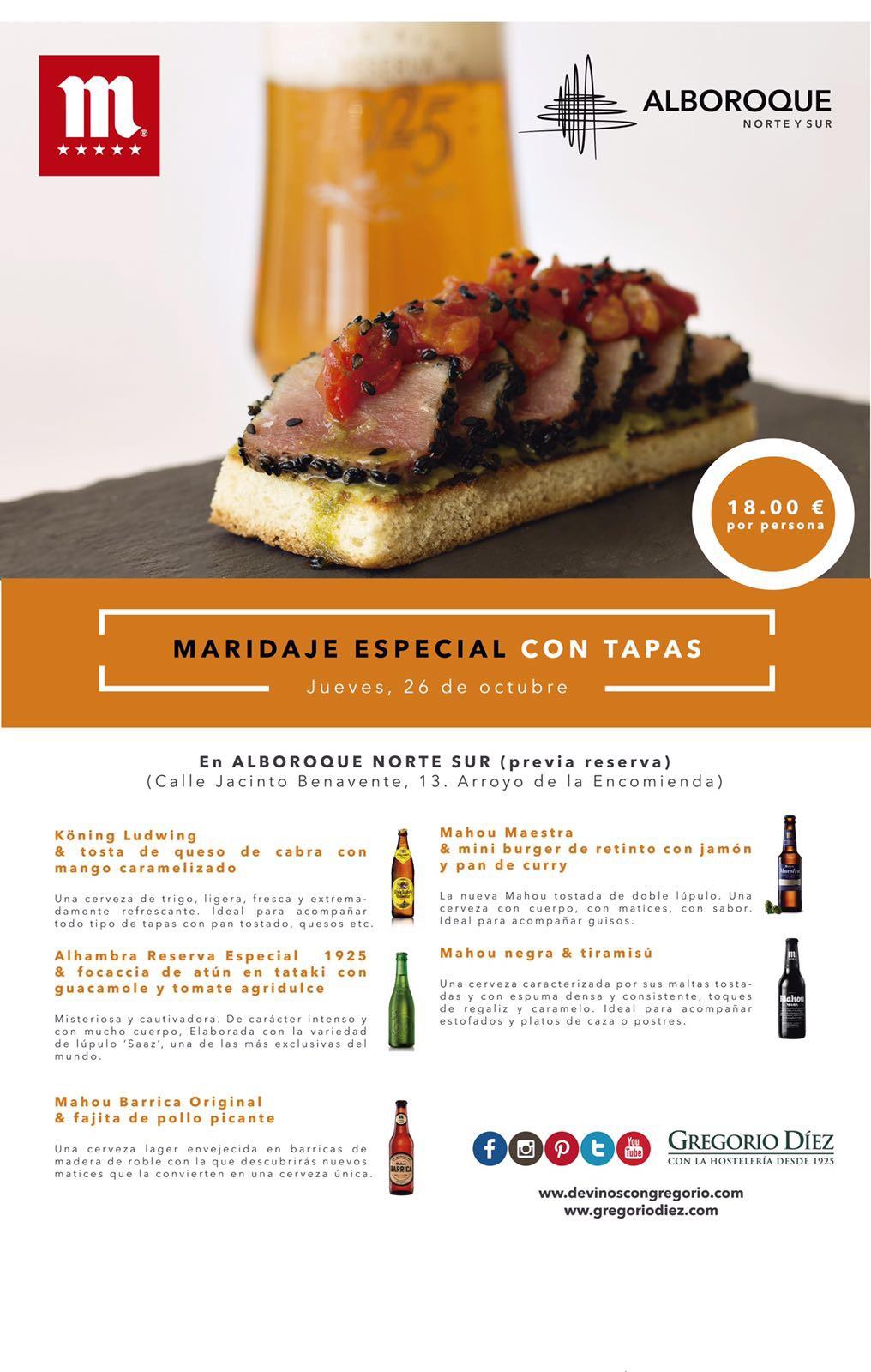 Cata de cervezas en Valladolid, maridaje con tapas en Alboroque Norte y Sur