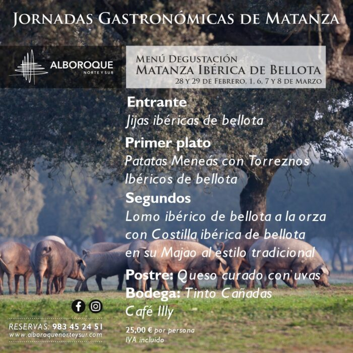 Alboroque Norte y Sur Menu degustacion Matanza Iberica